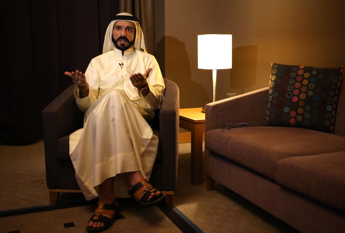 A leading Sunni tribal chief, sheik Ali Hatem al-Suleiman, speaks during an interview with the Associated Press, in Erbil, northern Iraq, Thursday June 19, 2014. Al-Suleiman said  Washington's decision to send 300 military advisors to assist the Iraqi government in quelling an insurgency sweeping the country would only make it worse. (AP Photo/Hussein Malla) (AP)