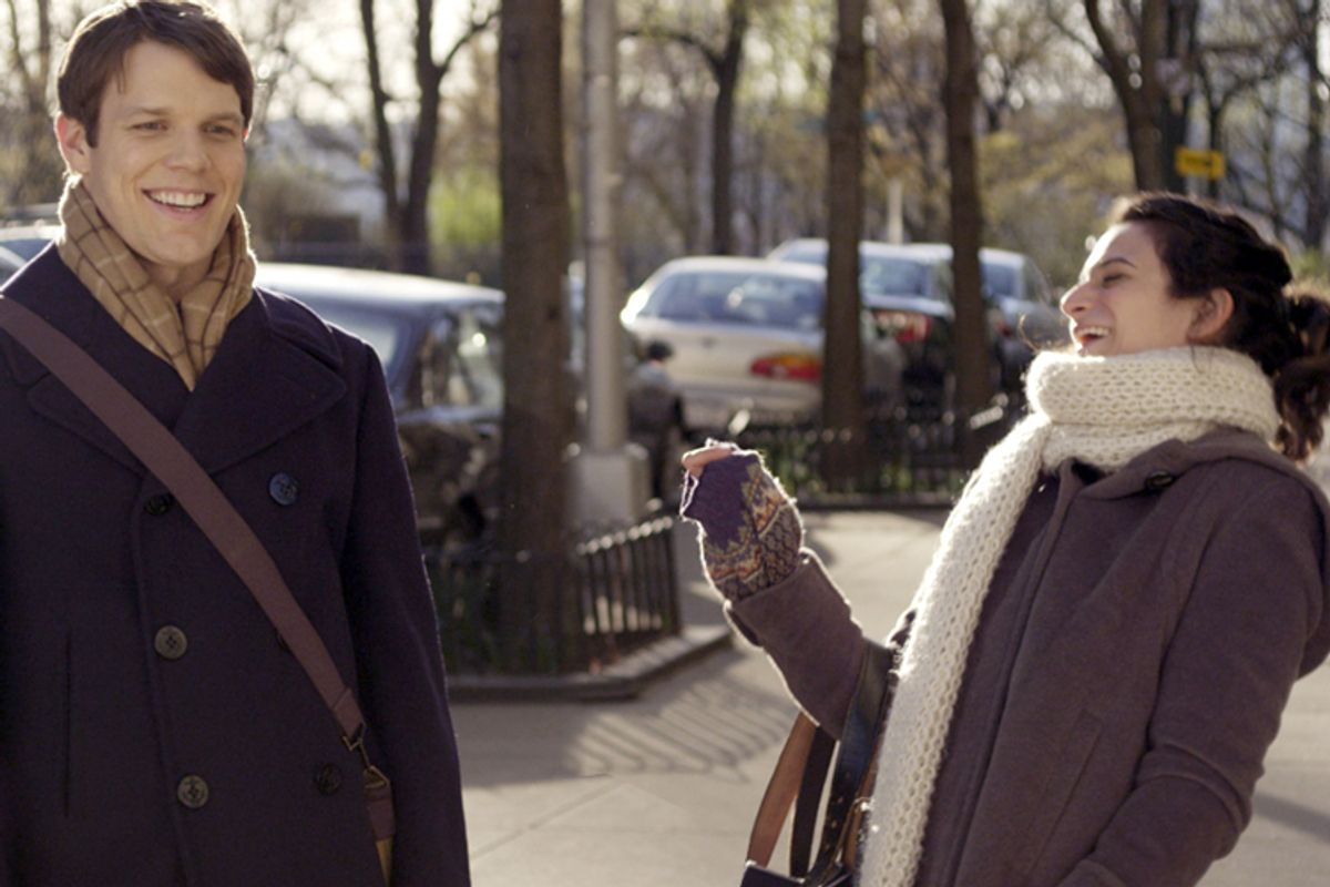 """Jake Lacy and Jenny Slate in """"Obvious Child"""""""