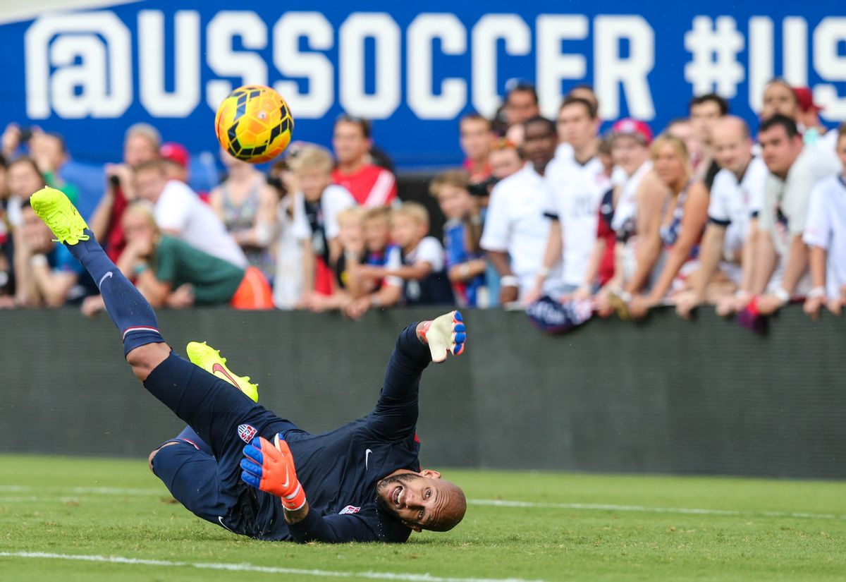 U.S. men's soccer team goalkeeper Tim Howard scrimmages during a public training session at EverBank Field in Jacksonville, Fla., Friday, June 6, 2014 before Saturday's friendly match against Nigeria ahead of the World Cup Championship. ((AP Photo/The Florida Times-Union, Gary McCullough))