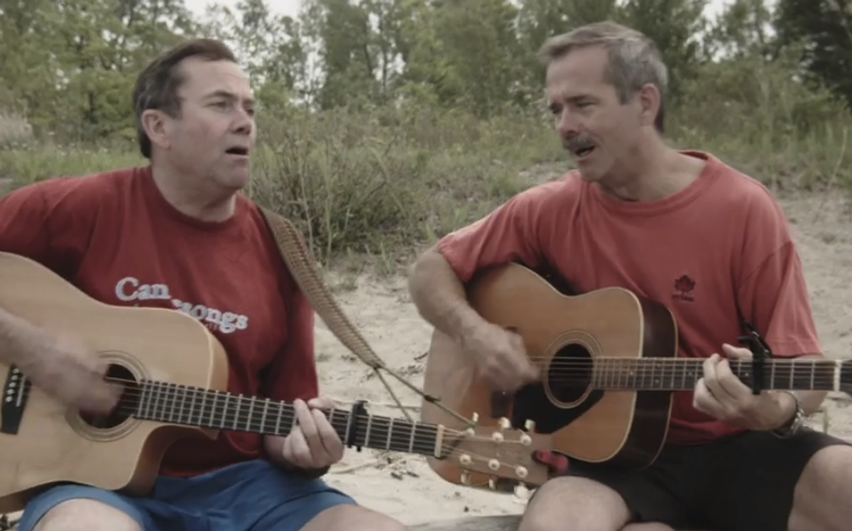 """Brothers Dave and Chris Hadfield sing """"In Canada""""      (screenshot)"""