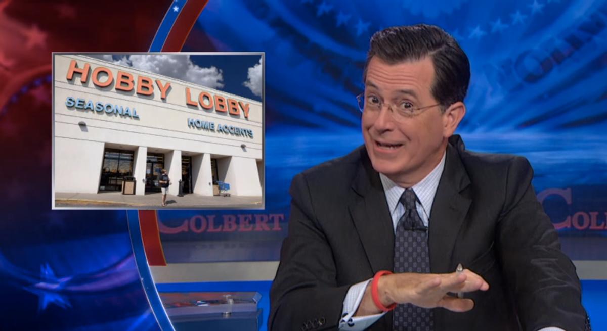 Stephen Colbert on Hobby Lobby decision          (screenshot)