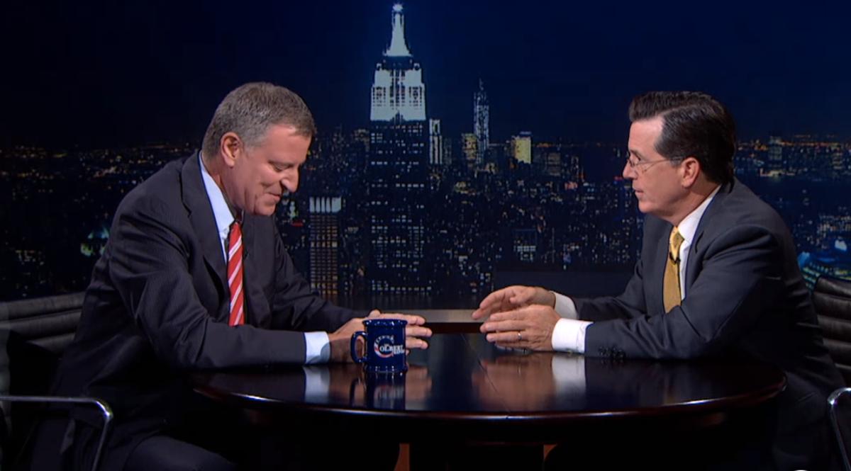 Mayor Bill deBlasio with Stephen Colbert     (screenshot)