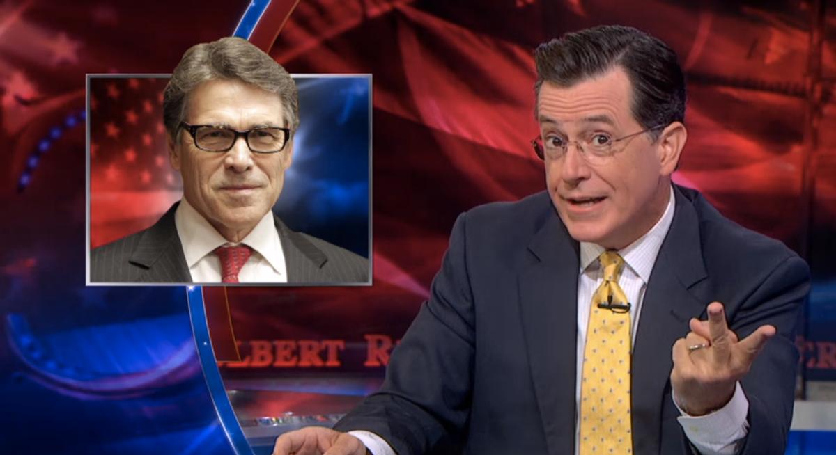 Stephen Colbert mocks Rick Perry         (screenshot)