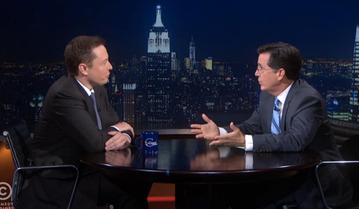 Stephen Colbert with Elon Musk        (screenshot)