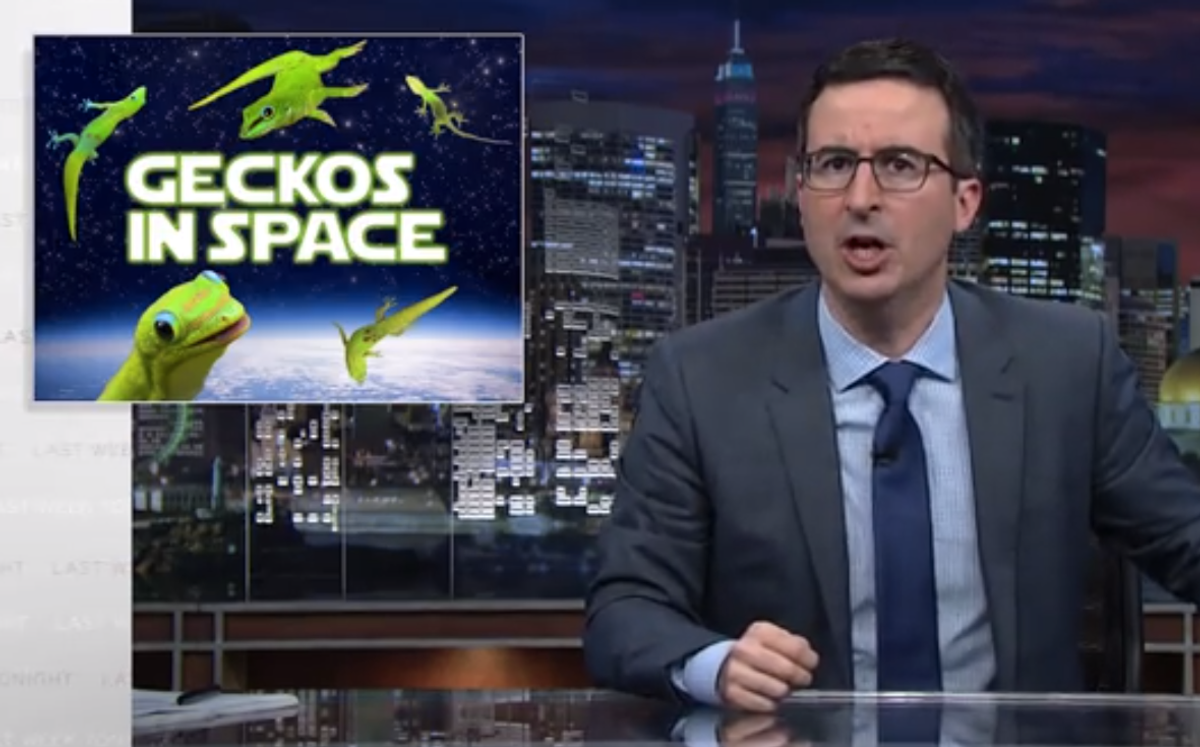 John Oliver on space geckos (screenshot)