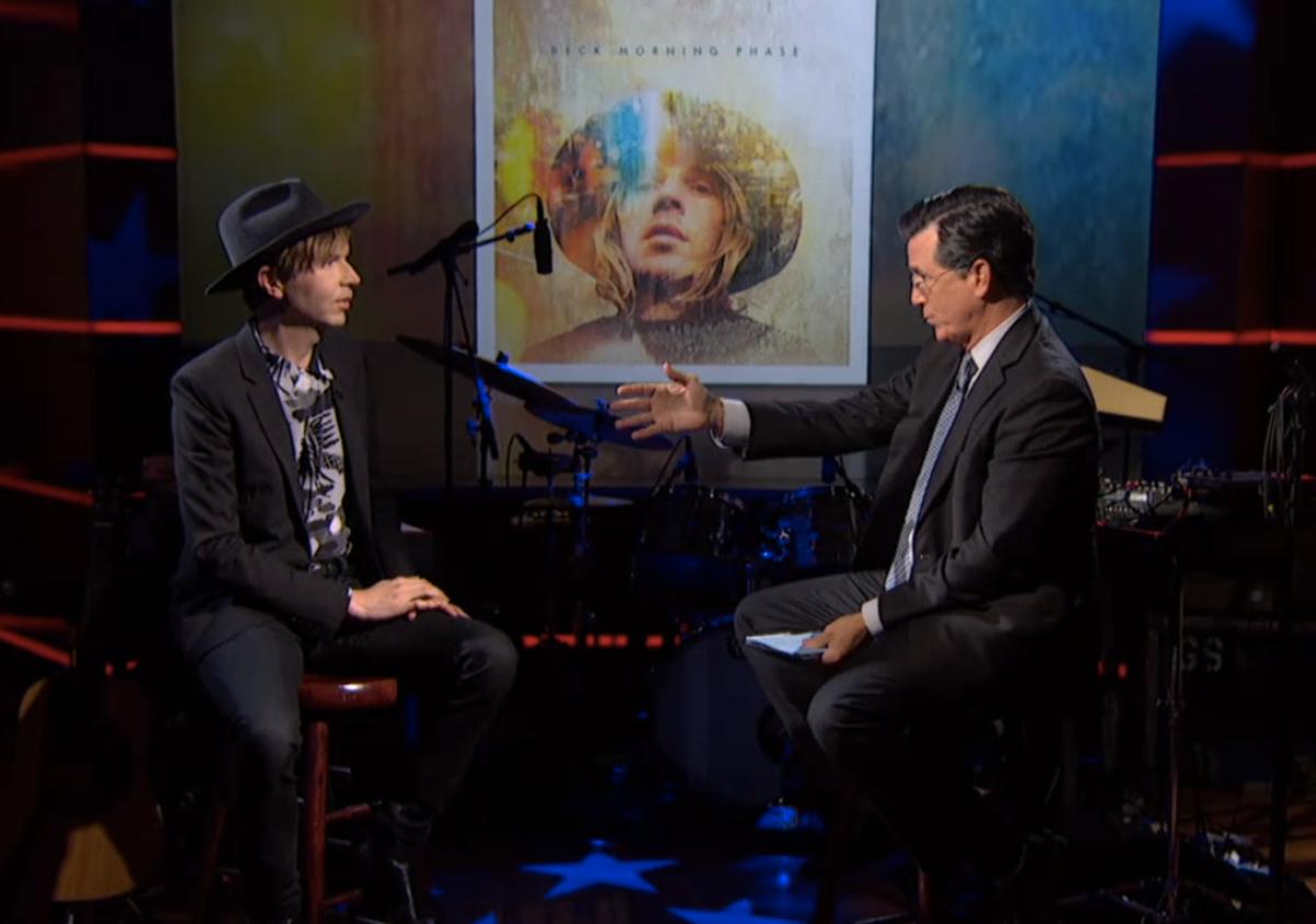 Beck and Stephen Colbert     (screenshot)