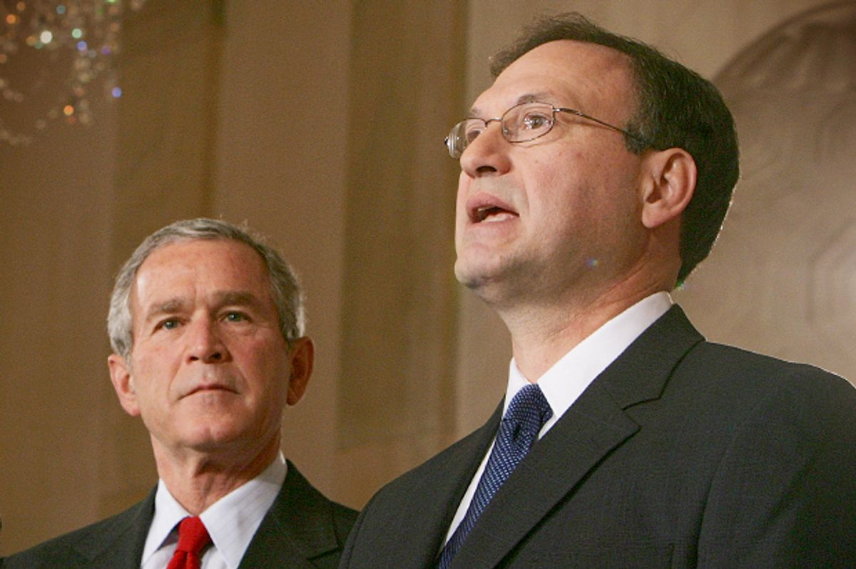 President Bush watches Judge Samuel Alito speak after he announced Alito's selection as his new nominee for the Supreme Court, Monday, Oct. 31, 2005.         (AP/Ron Edmonds)