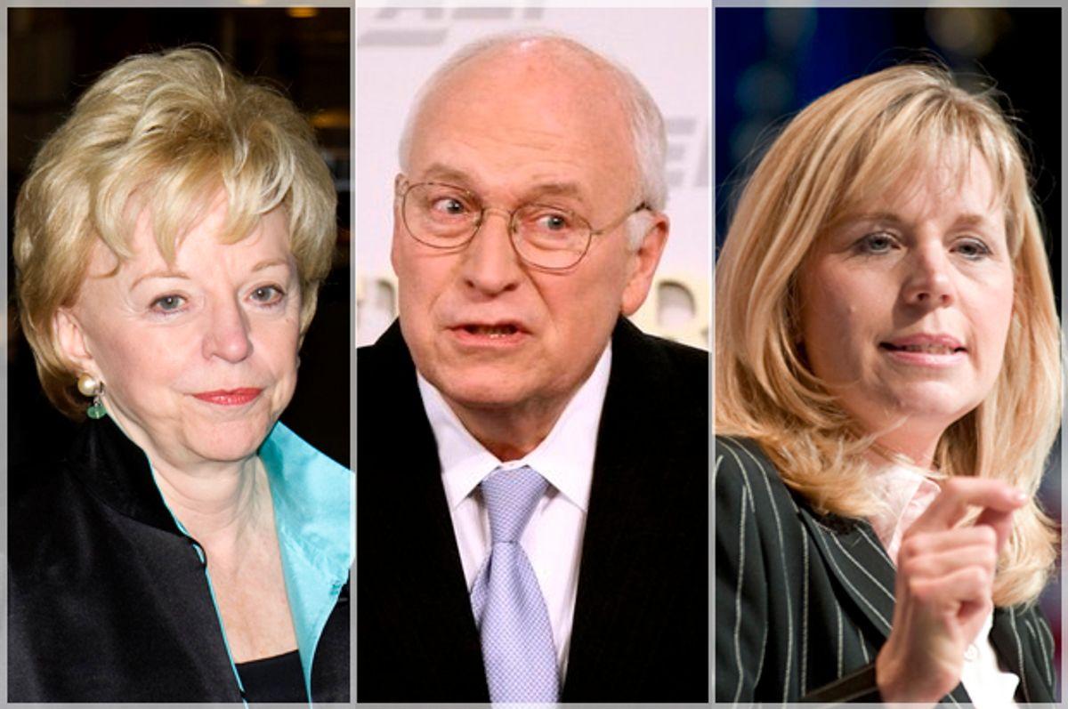 Lynne, Dick, Liz Cheney           (AP/Harry Hamburg/Luis M. Alvarez/Cliff Owen)