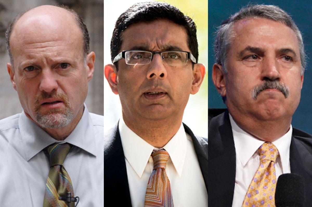 Jim Cramer, Dinesh D'Souza, Thomas Friedman               (AP/Edouard H.R. Gluck/Reuters/Lucas Jackson)