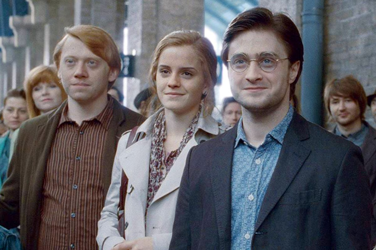 """Rupert Grint, Emma Watson, and Daniel Radcliffe in the epilogue scene of """"Harry Potter and the Deathly Hallows: Part 2"""""""