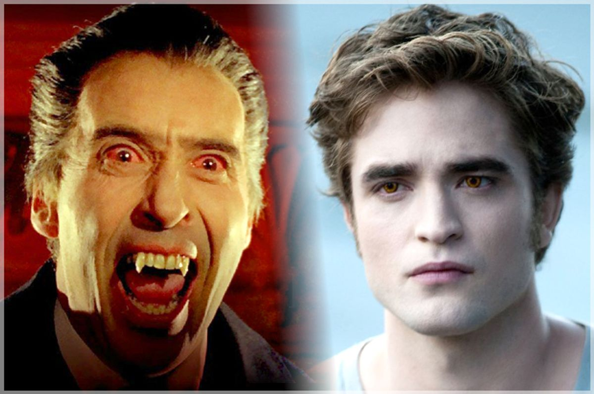 """Christopher Lee in """"Dracula: Prince of Darkness,"""" Robert Pattinson in """"The Twilight Saga: Eclipse"""""""
