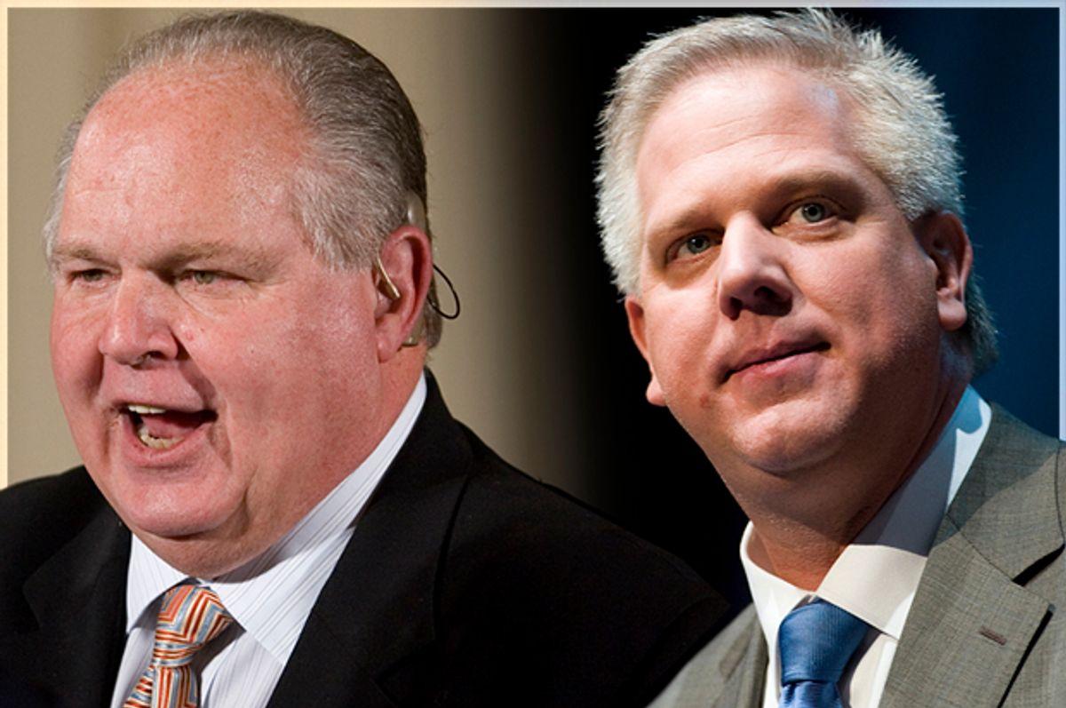 Rush Limbaugh, Glenn Beck           (AP/J. Scott Applewhite/Reuters/Chris Keane/Photo collage by Salon)