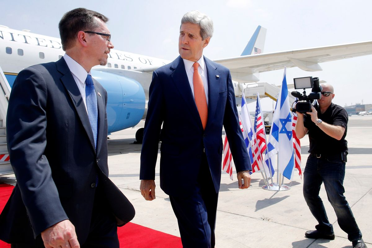 U.S. Secretary of State John Kerry walks with U.S. Embassy Deputy Chief of Mission Bill Grant as he arrives to Tel Aviv, Israel, Wednesday, July 23, 2014. Kerry is meeting with U.N. Secretary-General Ban Ki-moon, Israeli Prime Minister Benjamin Netanyahu, and Palestinian Authority President Mahmoud Abbas as efforts for a cease-fire between Hamas and Israel continues. (AP Photo/Pool)  (AP)