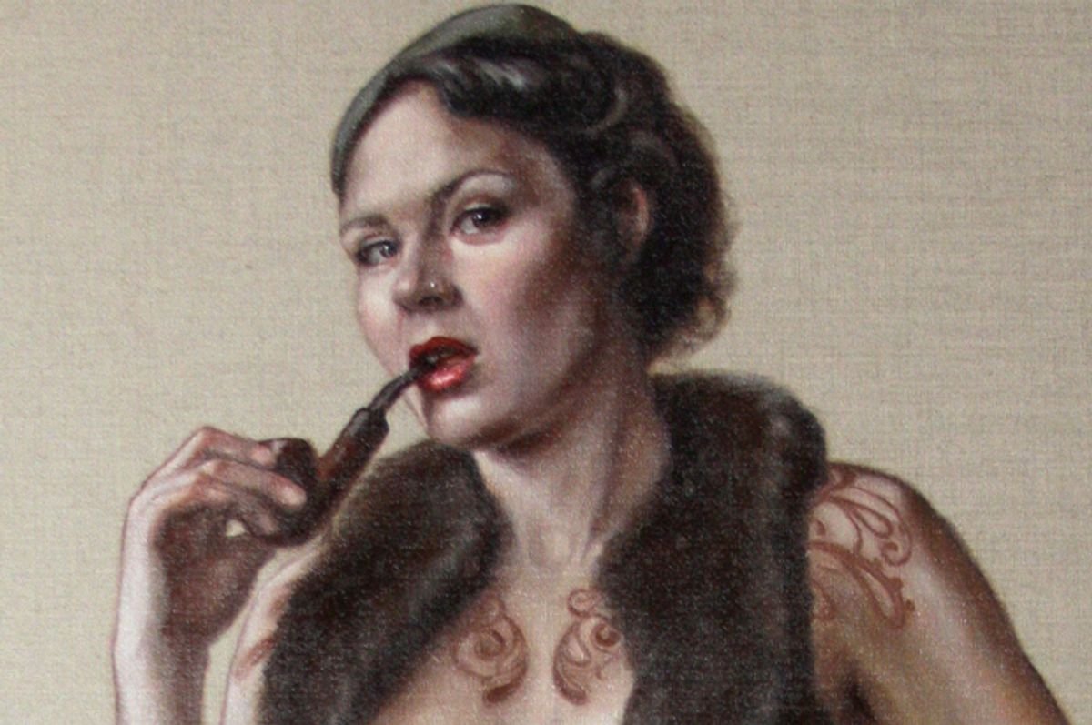 """Detail of """"Portrait of Ms Ruby May, Standing"""" by Leena McCall      (leenamccall.com)"""