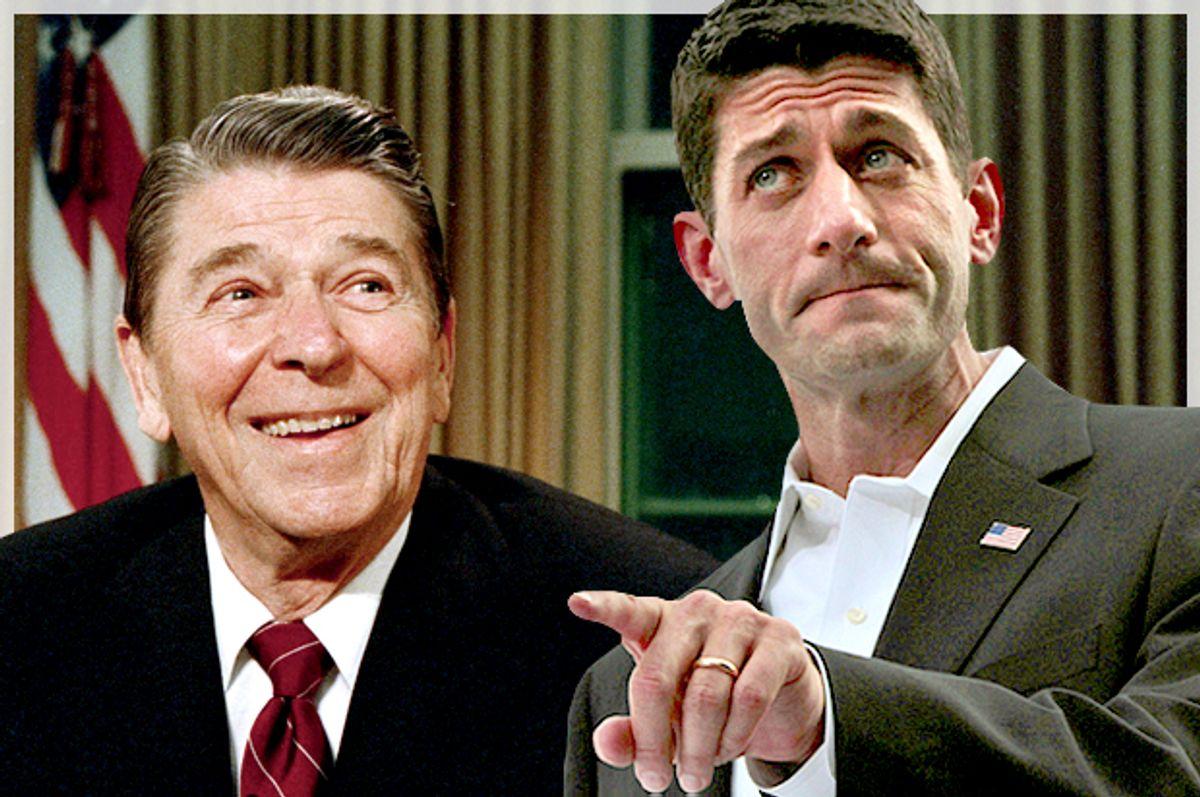 Ronald Reagan, Paul Ryan       (AP/Doug Mills/Mary Altaffer/Photo collage by Salon)