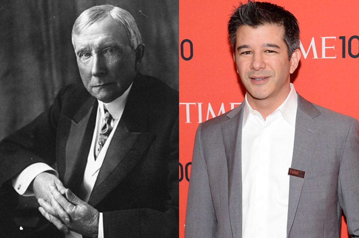 John D. Rockefeller, Sr., Travis Kalanick        (AP/Evan Agostini)