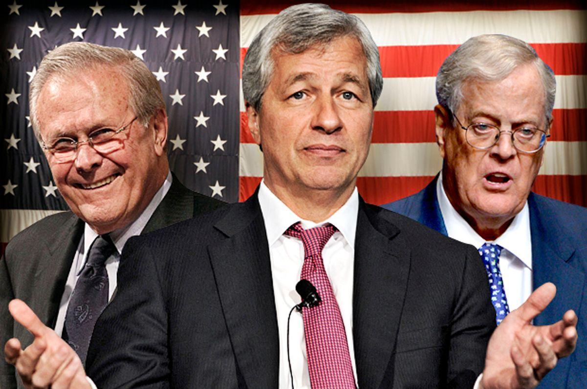 Donald Rumsfeld, Jamie Dimon, David Koch                        (AP/Rob Carr/Reuters/Keith Bedford/AP/Phelan M. Ebenhack/Photo montage by Salon)