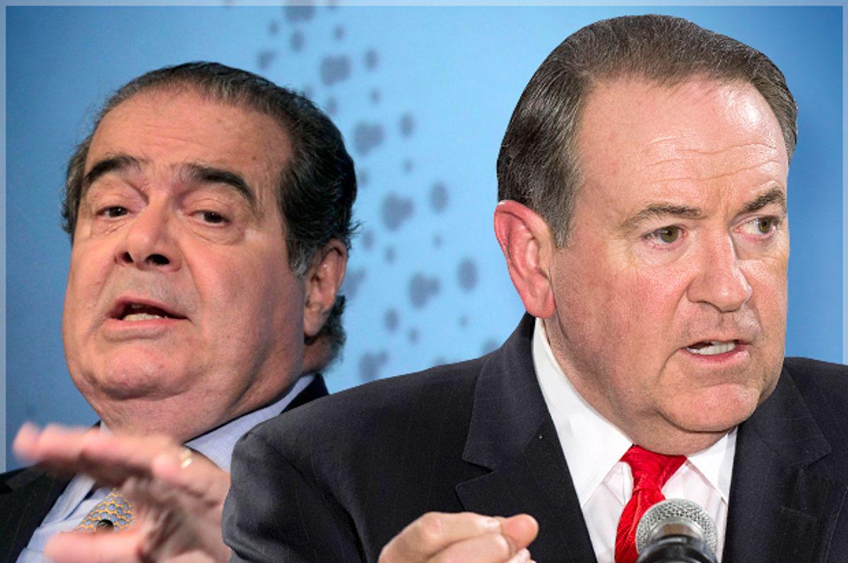 Antonin Scalia, Mike Huckabee                       (Reuters/Brendan Mcdermid/Lucas Jackson)