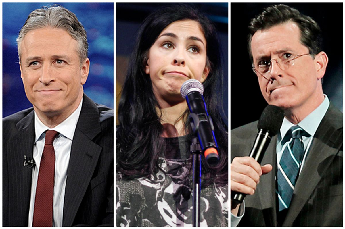 Jon Stewart, Sarah Silverman, Stephen Colbert           (AP/Brad Barket/Jack Plunkett/Dave Allocca)