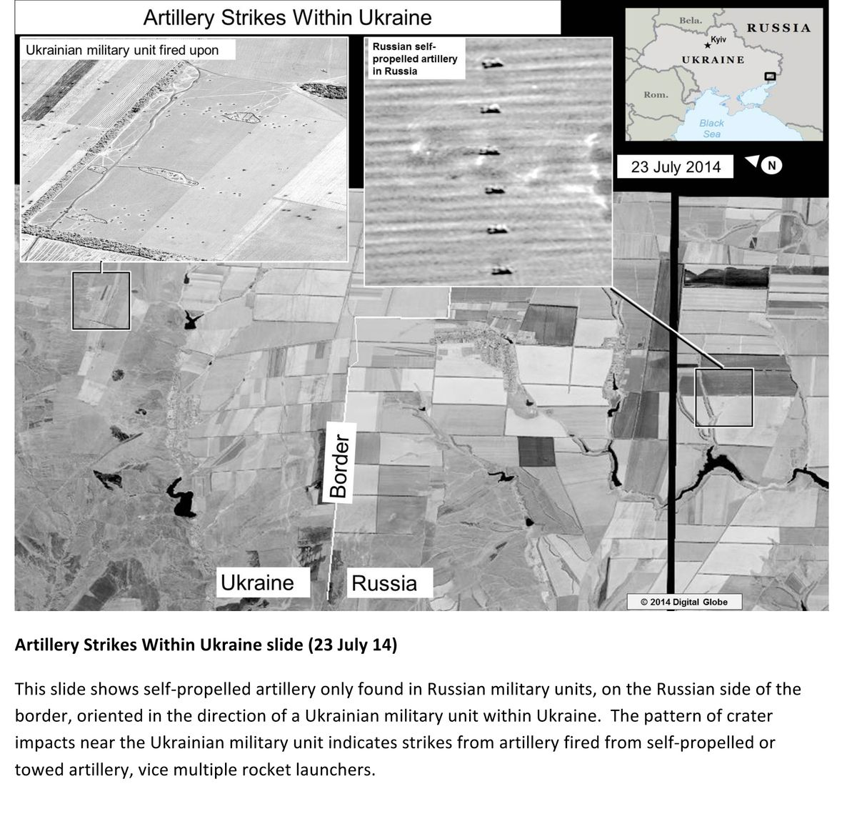 This second page of a four page document released by the U.S. State Department in Washington, July 27, 2014  shows a satellite image that purports to shows self propelled artillery only found in Russian military units, on the Russian side of the border, oriented in the direction of a Ukrainian military unit within Ukraine. The United States says the images back up its claims that rockets have been fired from Russia into eastern Ukraine and heavy artillery for separatists has also crossed the border. (AP Photo/U.S. State Department) (AP)