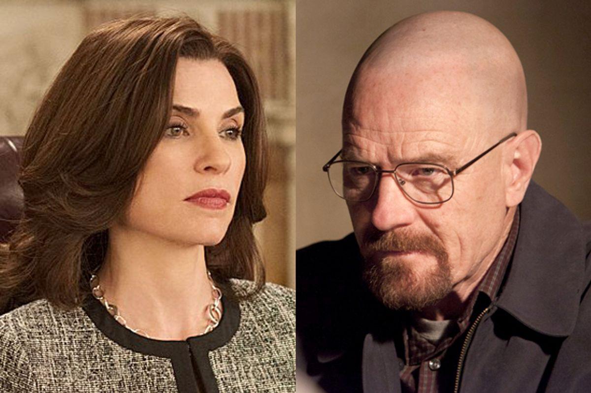 "Julianna Margulies in ""The Good Wife,"" Bryan Cranston in ""Breaking Bad""      (CBS/AMC)"