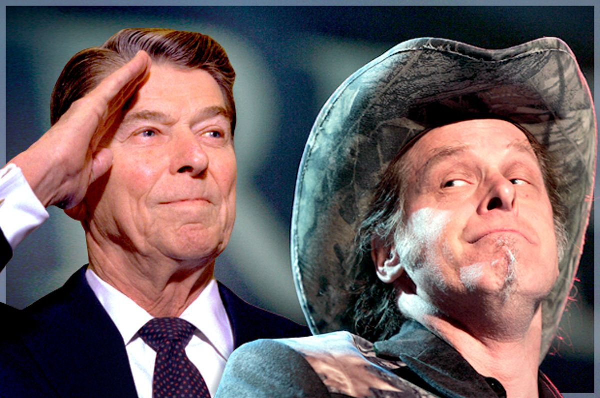 Ronald Reagan, Ted Nugent              (AP/Morry Gash/Photo montage by Salon)