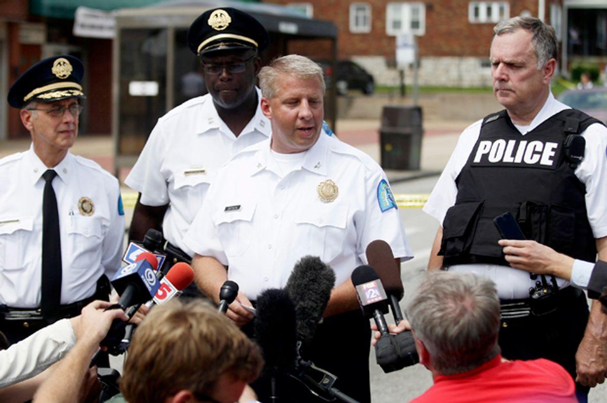 St. Louis Police Chief Sam Dotson speaks to reporters in St. Louis, Missouri August 19, 2014.      (Reuters/Joshua Lott)
