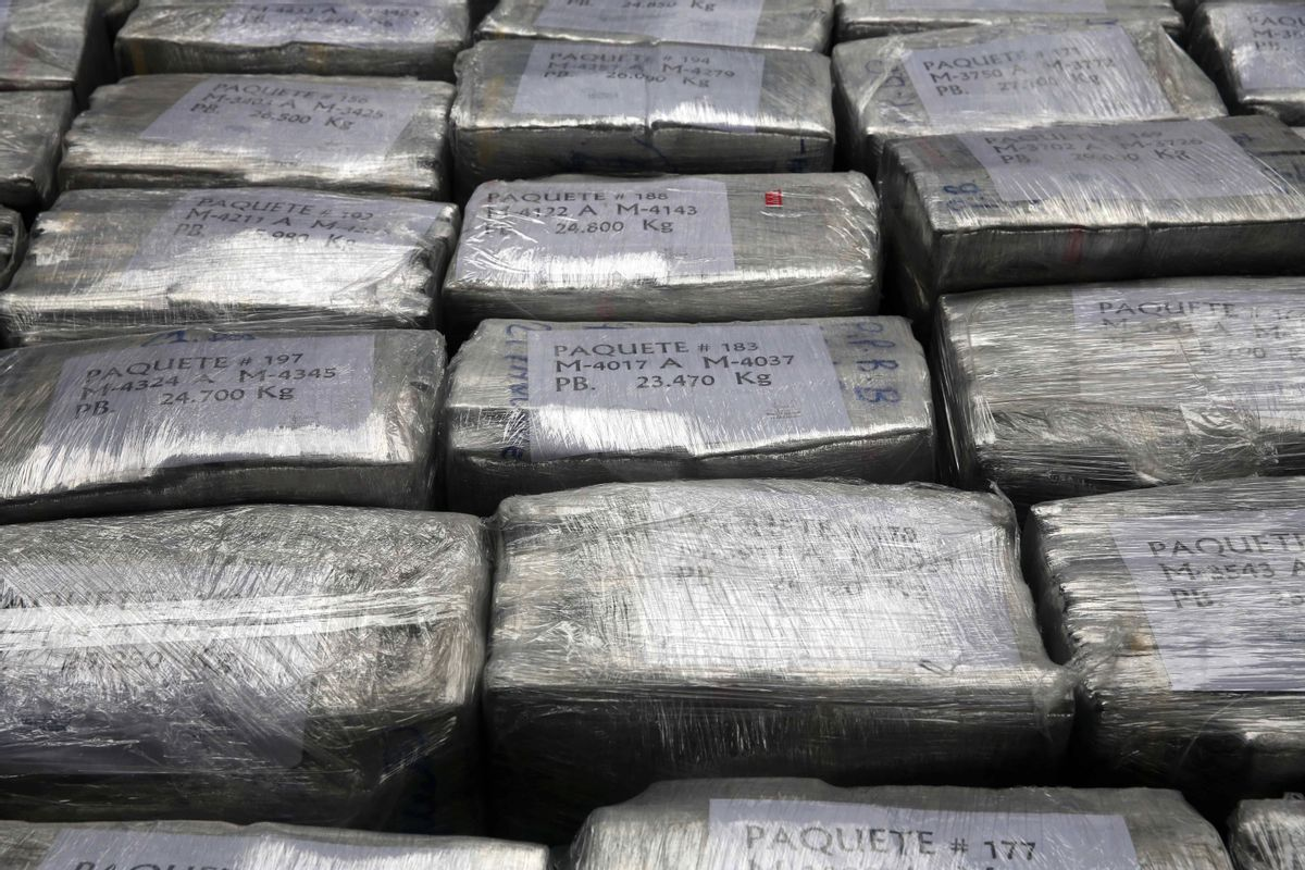 Blocks of seized cocaine are presented to the press at a police base in Lima, Peru, Monday, Sept. 1, 2014. (AP Photo/Martin Mejia) (AP)