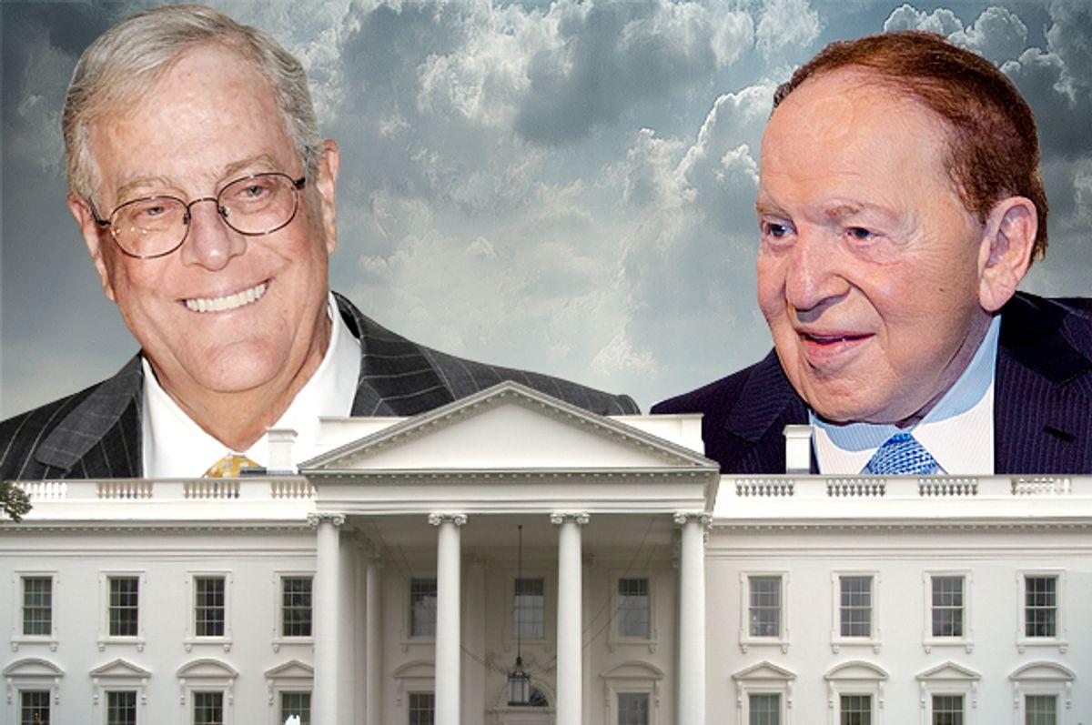 David Koch, Sheldon Adelson         (AP/Evan Agostini/Scott Roth/photo montage by Salon)