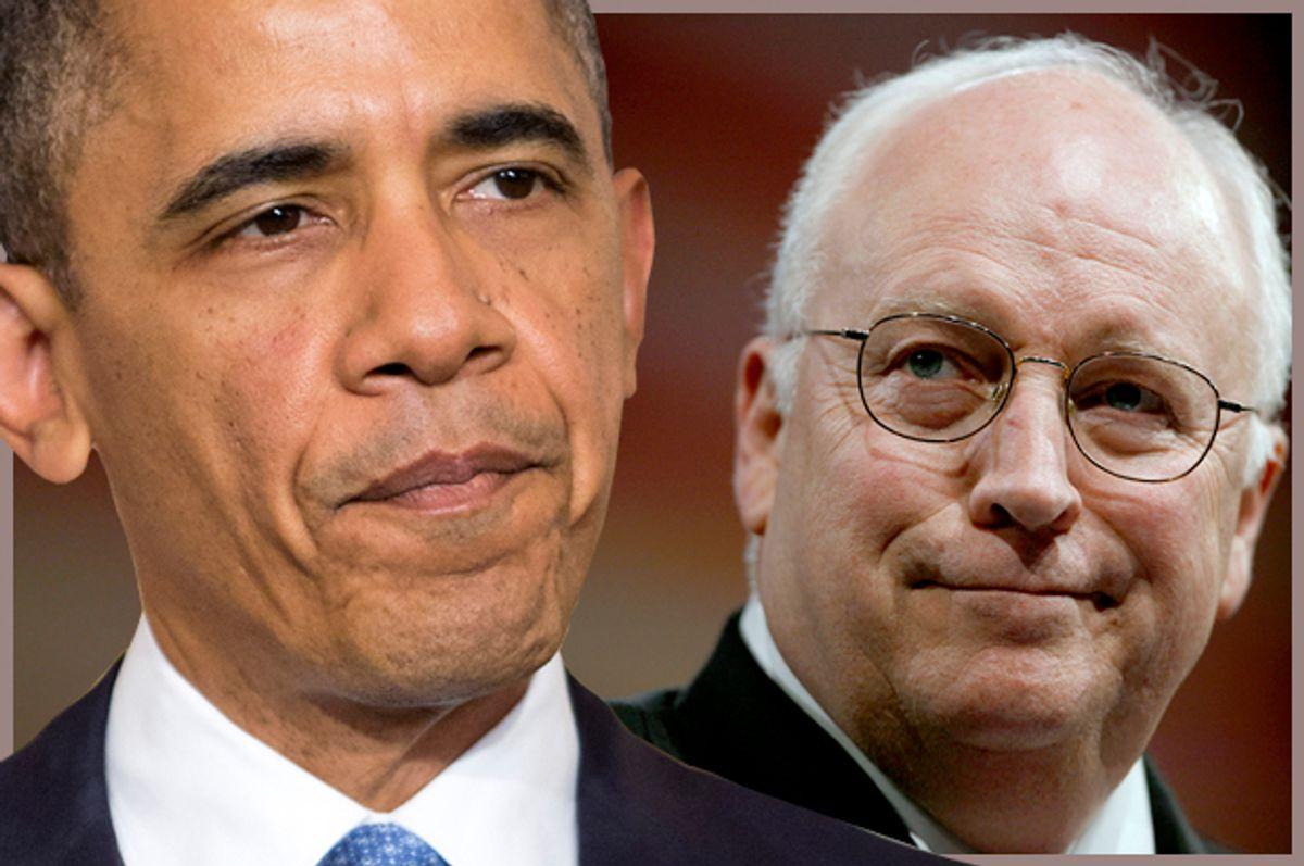 Barack Obama, Dick Cheney                (Reuters/Joshua Roberts/photo montage by Salon)