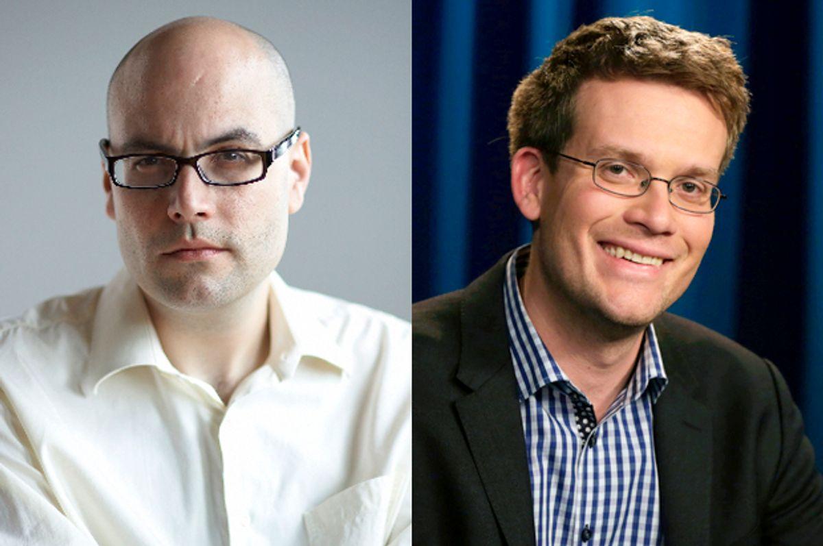 Nathan Rabin (left), John Green      (Simon & Schuster/Charlie Simokaitis/AP/Richard Drew)