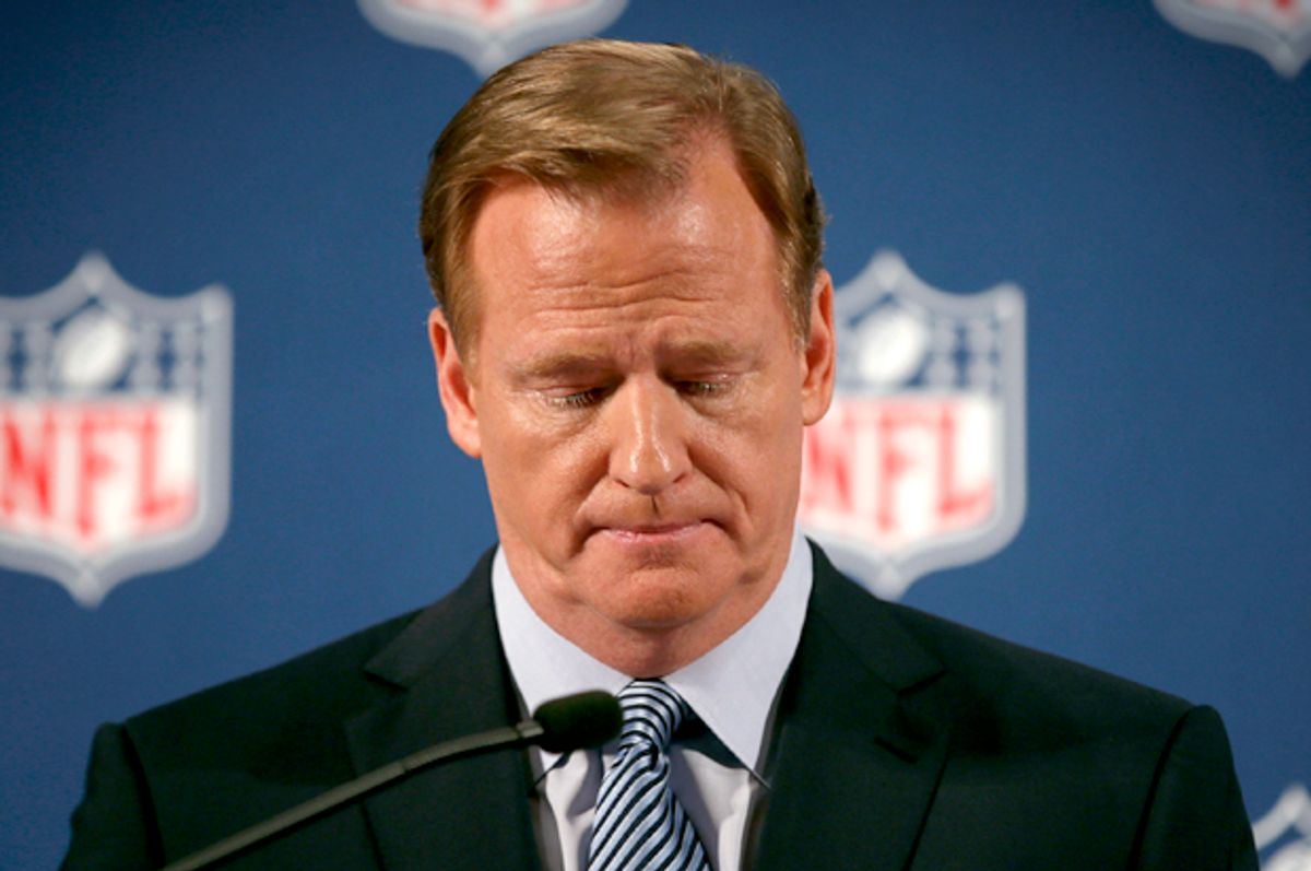 Roger Goodell speaks at a news conference to address domestic violence issues and the NFL's Personal Conduct Policy, in New York, September 19, 2014.         (Reuters/Mike Segar)