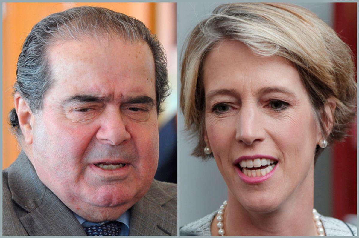 Antonin Scalia, Zephyr Teachout         (AP/Dave Tulis/Mark Lennihan)