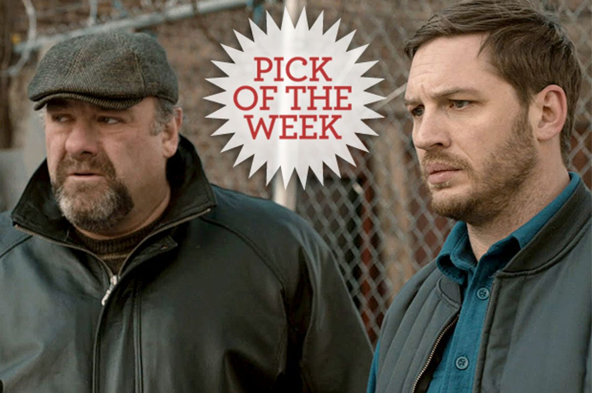 "James Gandolfini and Tom Hardy in ""The Drop"""