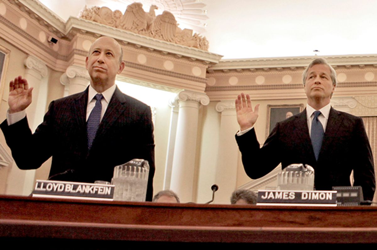 Lloyd Blankfein and Jamie Dimon are sworn in on Capitol Hill, Jan. 13, 2010, prior to testifying  before the Financial Crisis Inquiry Commission           (AP/Pablo Martinez Monsivais)