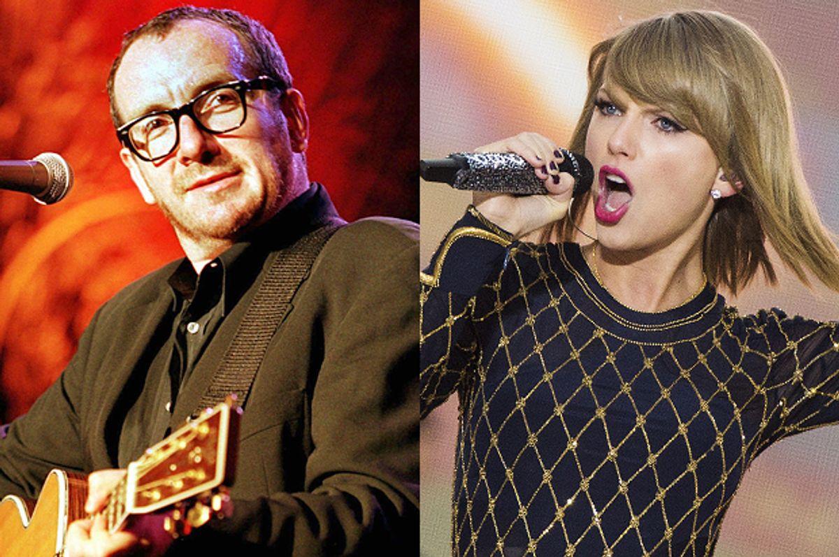 Elvis Costello, Taylor Swift    (AP/Martial Trezzini/Reuters/Lucas Jackson)