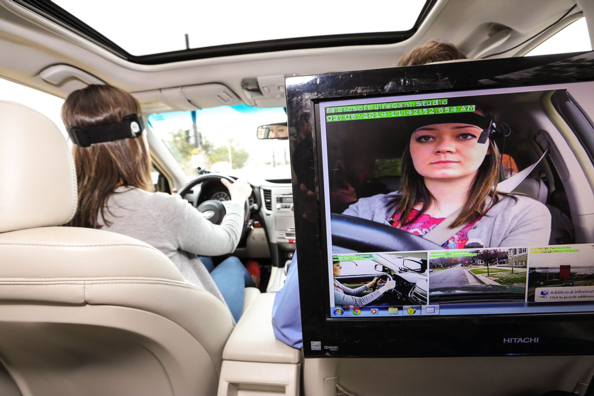 This March 6, 2014, image provided by AAA Foundation via DanCampbellPhotography.com shows driver during the Cognitive Distraction Phase II testing in Salt Lake City. Two new studies have found that voice-activated smartphones and dashboard infotainment systems may be making the distracted-driving problem worse. (AP Photo/DanCampbellPhotographer.com via AAA Foundation) (AP)