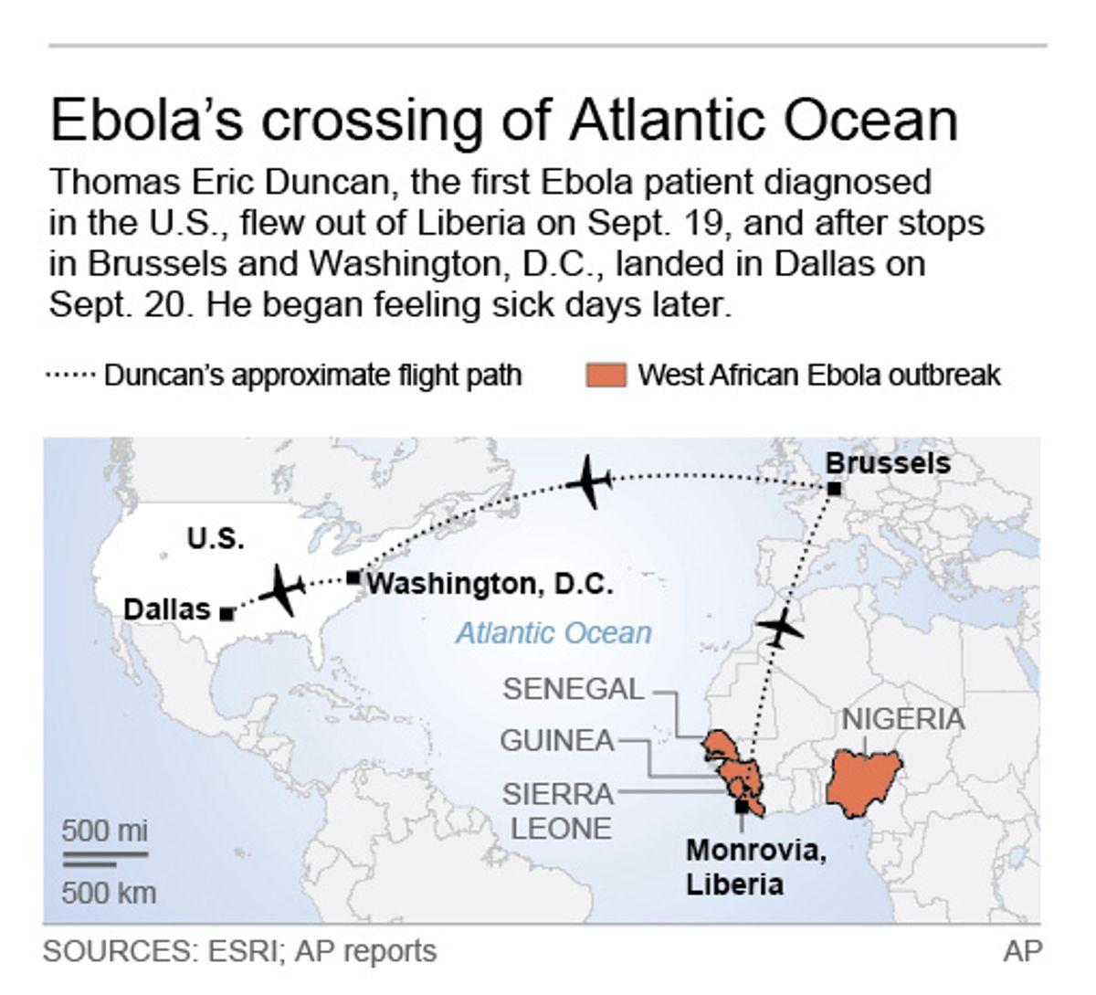 Map shows Ebola victim flight across Atlantic; 2c x 3 inches; 96.3 mm x 76 mm; (AP)