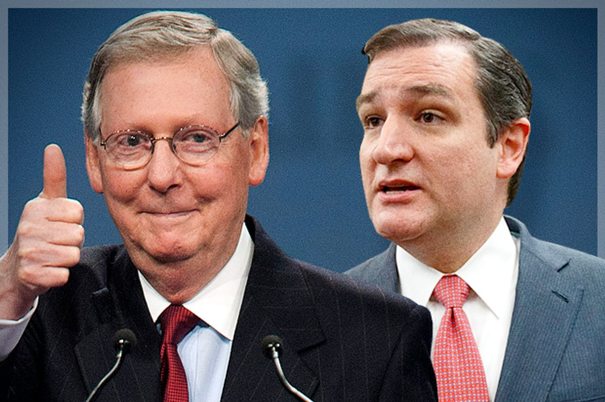 Mitch McConnell, Ted Cruz                                           (Reuters/Joshua Roberts/AP/J. Scott Applewhite/photo montage by Salon)