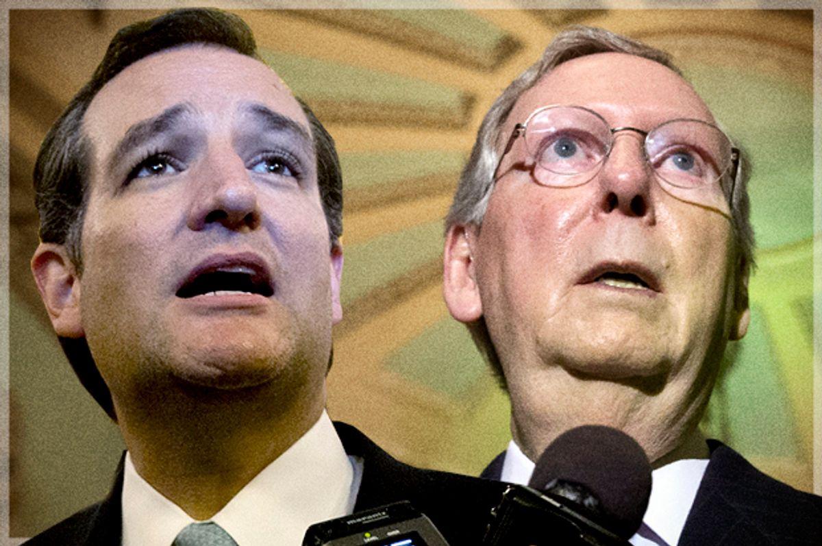 Ted Cruz, Mitch McConnell                                   (Reuters/Jason Reed/J. Scott Applewhite/photo montage by Salon)