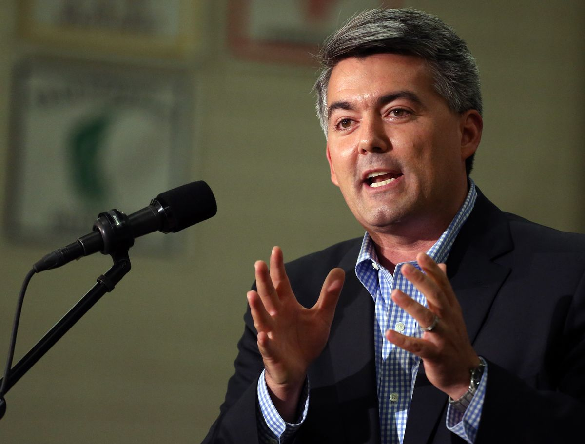In this Sept. 29, 2014 photo, Rep. Cory Gardner, R-Colo., who is running for the U.S. Senate seat held by Democratic Senator Mark Udall, speaks at a political rally at Heritage High School, in Littleton, Colo.  Democrats defending their Senate majority this year are increasingly relying on an issue once seen as a wash with voters: reproductive rights. Udall has made it a centerpiece of his campaign to stave off a strong challenge from Gardner. (AP Photo/Brennan Linsley) (AP)
