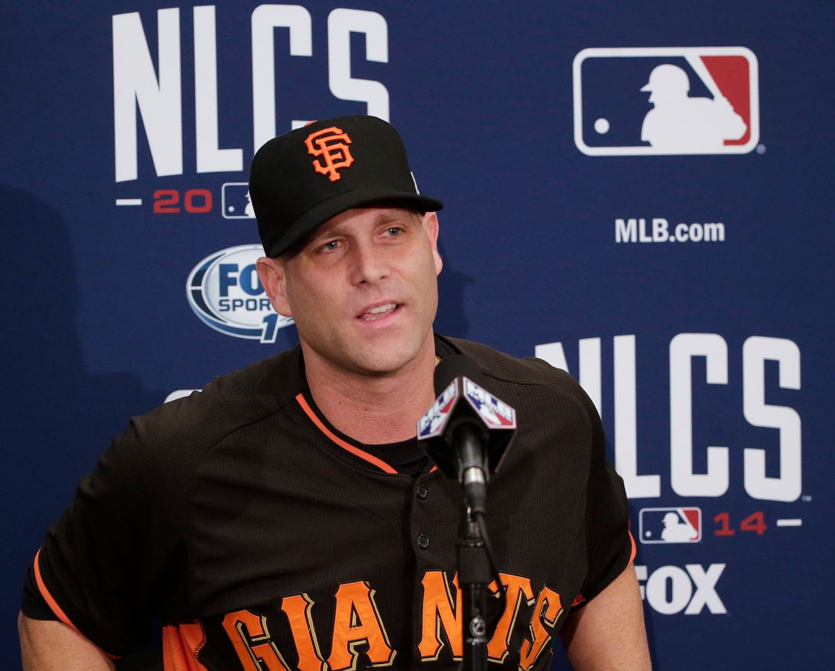 San Francisco Giants starting pitcher Tim Hudson answers questions from reporters on Monday, Oct. 13, 2014, in San Francisco.  The St. Louis Cardinals and San Francisco Giants are scheduled to play Game 3 of the National League Championship Series on Tuesday in San Francisco. (AP Photo/Marcio Jose Sanchez) (AP)