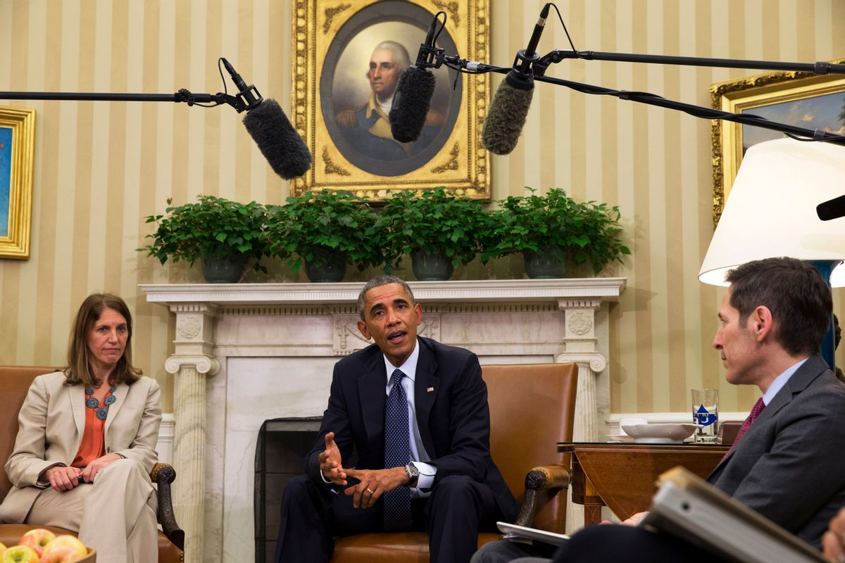 President Barack Obama speaks to the media about the government's Ebola response, in the Oval Office of the White House Thursday, Oct. 16, 2014, in Washington. At left is Sylvia Burwell, Secretary of Health and Human Services, and at right is Dr. Thomas Frieden, Director of the Centers for Disease Control and Prevention. (AP Photo/Jacquelyn Martin) (AP)