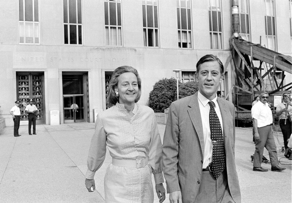 In this June 21, 1971 file photo, Washington Post Executive Director Ben Bradlee and Post Publisher Katharine Graham leave U.S. District Court in Washington. Bradlee died Tuesday, Oct. 21, 2014, according to the Washington Post.  ((AP Photo, File))
