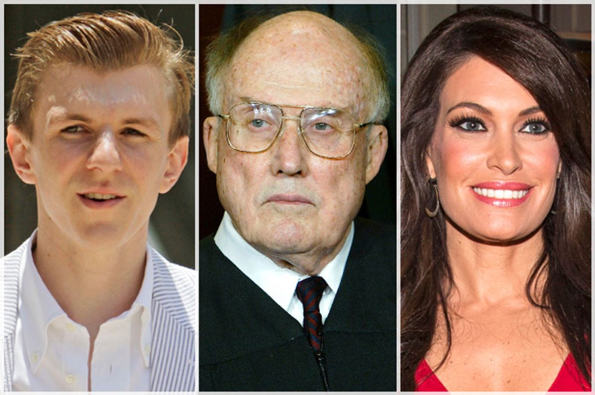 James O'Keefe, Justice William Rehnquist, Kimberly Guilfoyle     (AP/Bill Haber/J. Scott Applewhite/Reuters/Andrew Kelly)