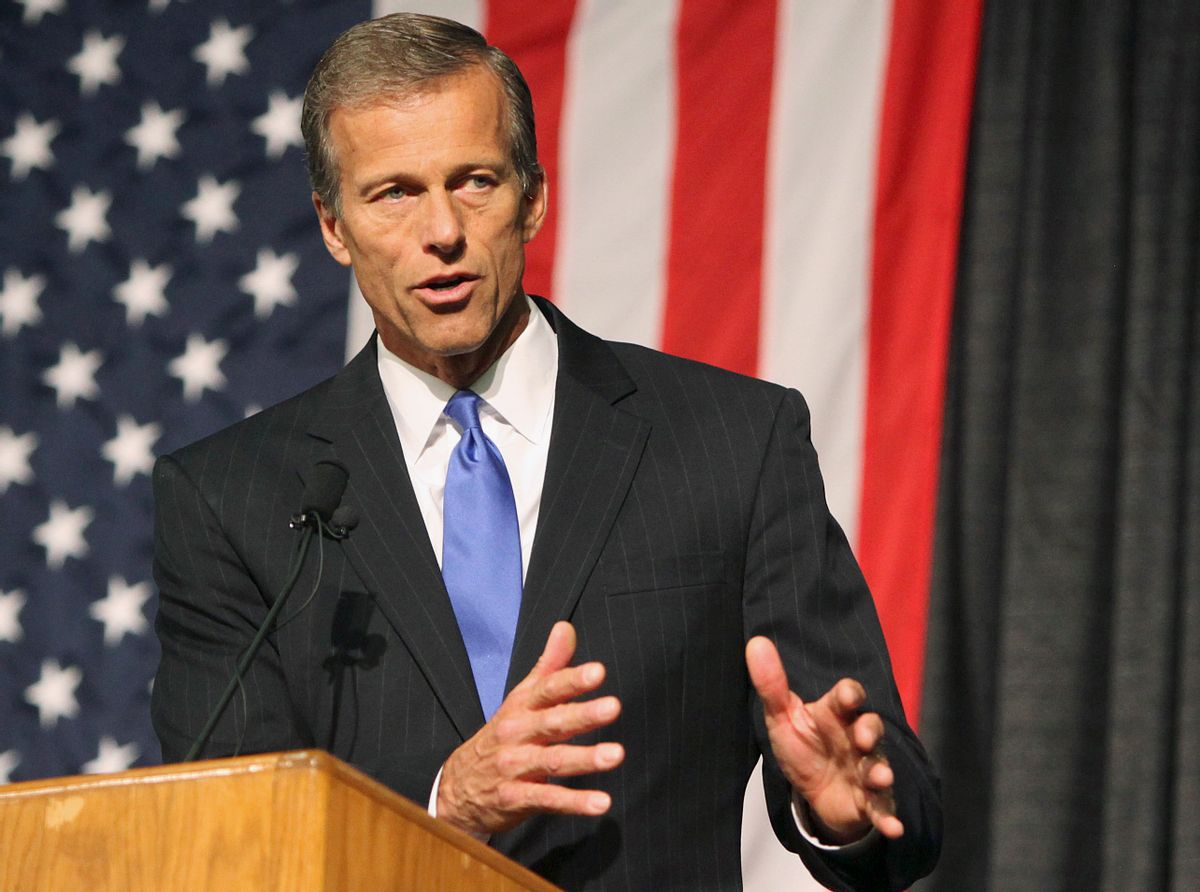 FILE - In this June 20, 2014 file photo, Sen. John Thune, R-S.D., speaks at the South Dakota Republican Convention in Rapid City, S.D. A Republican majority would usher in major changes in committee leadership, with political opposites replacing the current Democratic chairmen and setting a markedly different agenda from the past eight years of Democratic control. The size of a Republican majority would determine committee ratios and budgets; more seats in the Senate translate into a greater advantage on the panels.  (AP/Toby Brusseau)