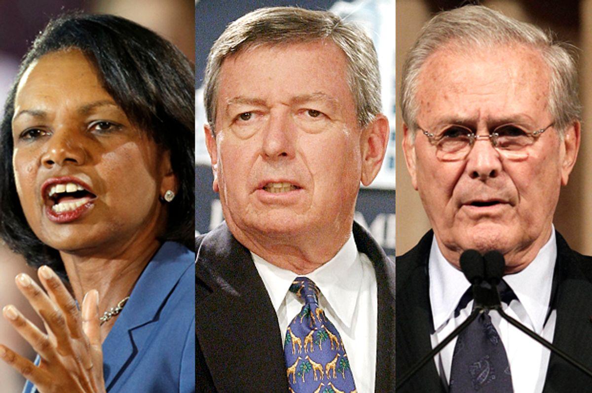 Condoleezza Rice, John Ashcroft, Donald Rumsfeld     (AP/Mark Duncan/Stephen J. Boitano/Wally Santana)