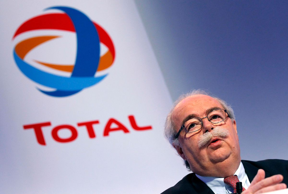 """FILE - This Friday, Feb. 11, 2011, file photo shows French energy giant Total CEO, Christophe de Margerie addressing reporters during a press conference in Paris, France.  The CEO of French oil giant Total SA was killed when his corporate jet collided with a snow removal machine Monday night at Moscow's Vnukovo Airport, the company said. Total """"confirms with deep regret and sadness"""" that Chairman and CEO Christophe de Margerie died in a private plane crash at the Moscow airport, the company said in a press release dated Tuesday and posted on its website. (AP Photo/Christophe Ena, File) (AP)"""