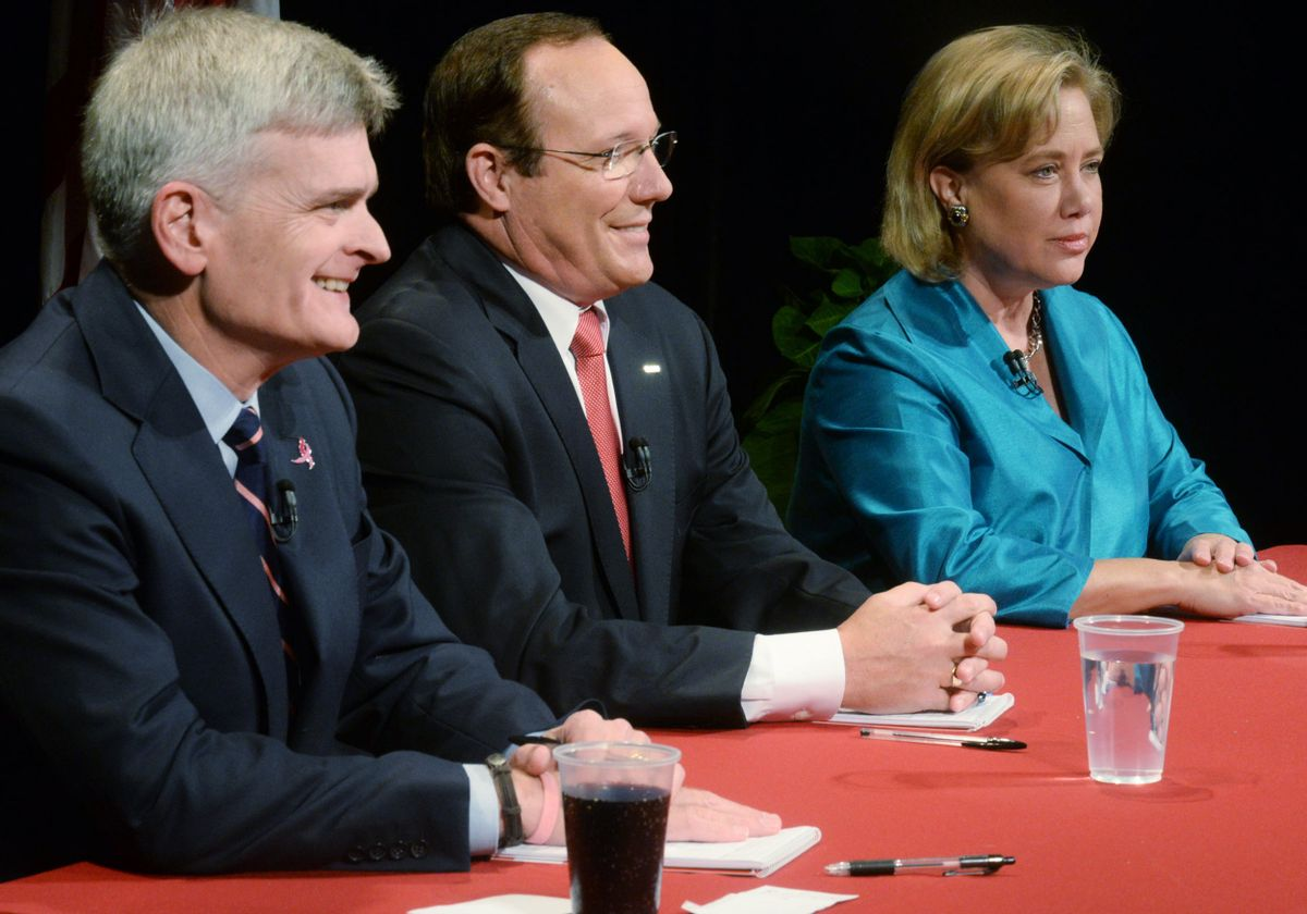 From left, Rep. Bill Cassidy, retired Air Force Col. Rob Maness, and Sen. Mary Landrieu wait moments before the debate, Tuesday, Oct. 14, 2014 at Centenary College in Shreveport, La.  (AP)