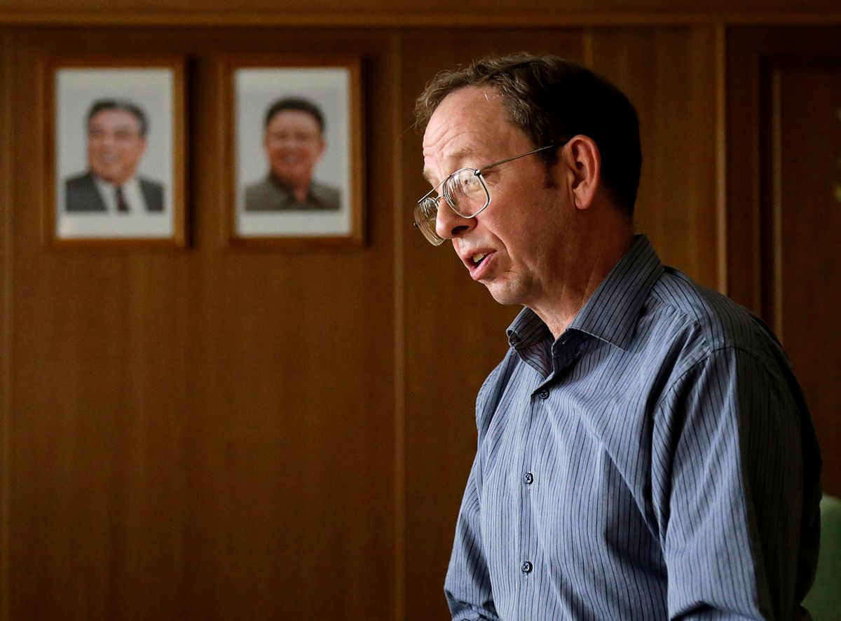 FILE - In this Sept. 1, 2014, file photo, Jeffrey Fowle, an American detained in North Korea speaks to the Associated Press in Pyongyang, North Korea. Fowle, one of three Americans being held in North Korea, has been released, the State Department said Tuesday, Oct. 21, 2014. State Department deputy spokeswoman Marie Harf said the U.S. is still trying to free Americans Matthew Miller and Kenneth Bae. (AP Photo/Wong Maye-E, File) (AP)